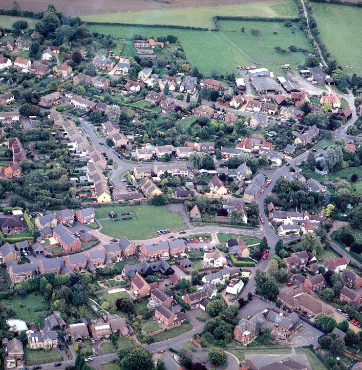 Aerial photo of Little Green circa 1990