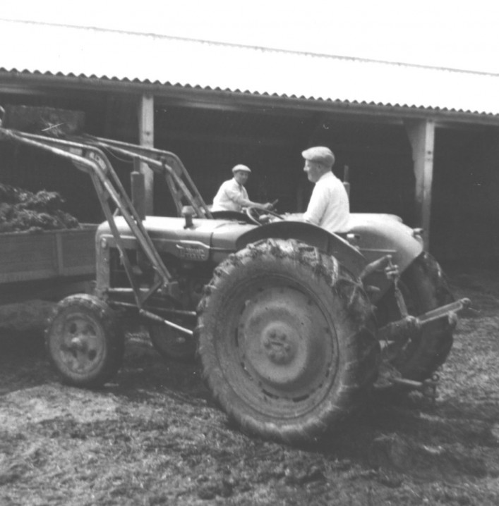 Late 1950s  A Fordson Major tractor, lifting dung in the cattle yard of Elm Tree Farm. L-R: Ken Walker, Stan Walker