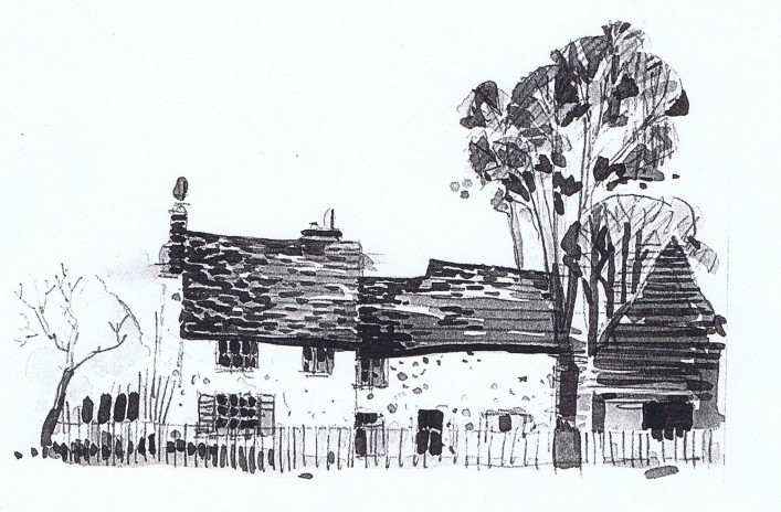 Mike James' sketch of Elmtree Farm.