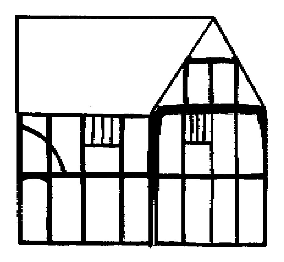 Elevation of first phase and cross wing from Royal Oak Lane