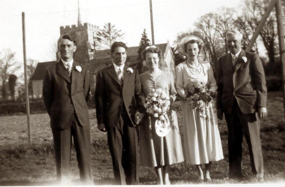 Jack and Clare's wedding 1950 .Her twin sister Nina was bridesmaid