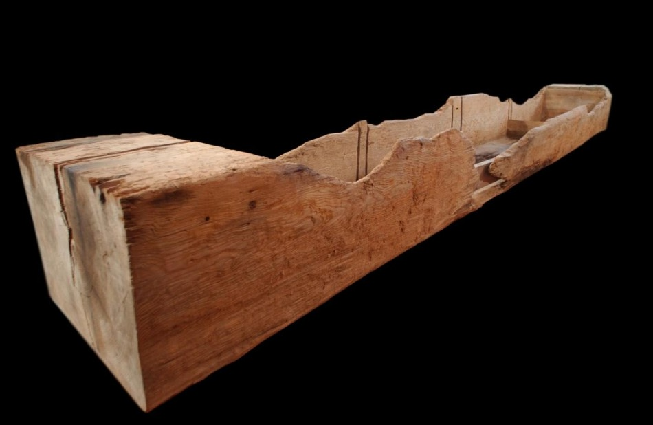 A salting trough which was a wooden box kept in the kitchen for salting meat or fish for preservation.