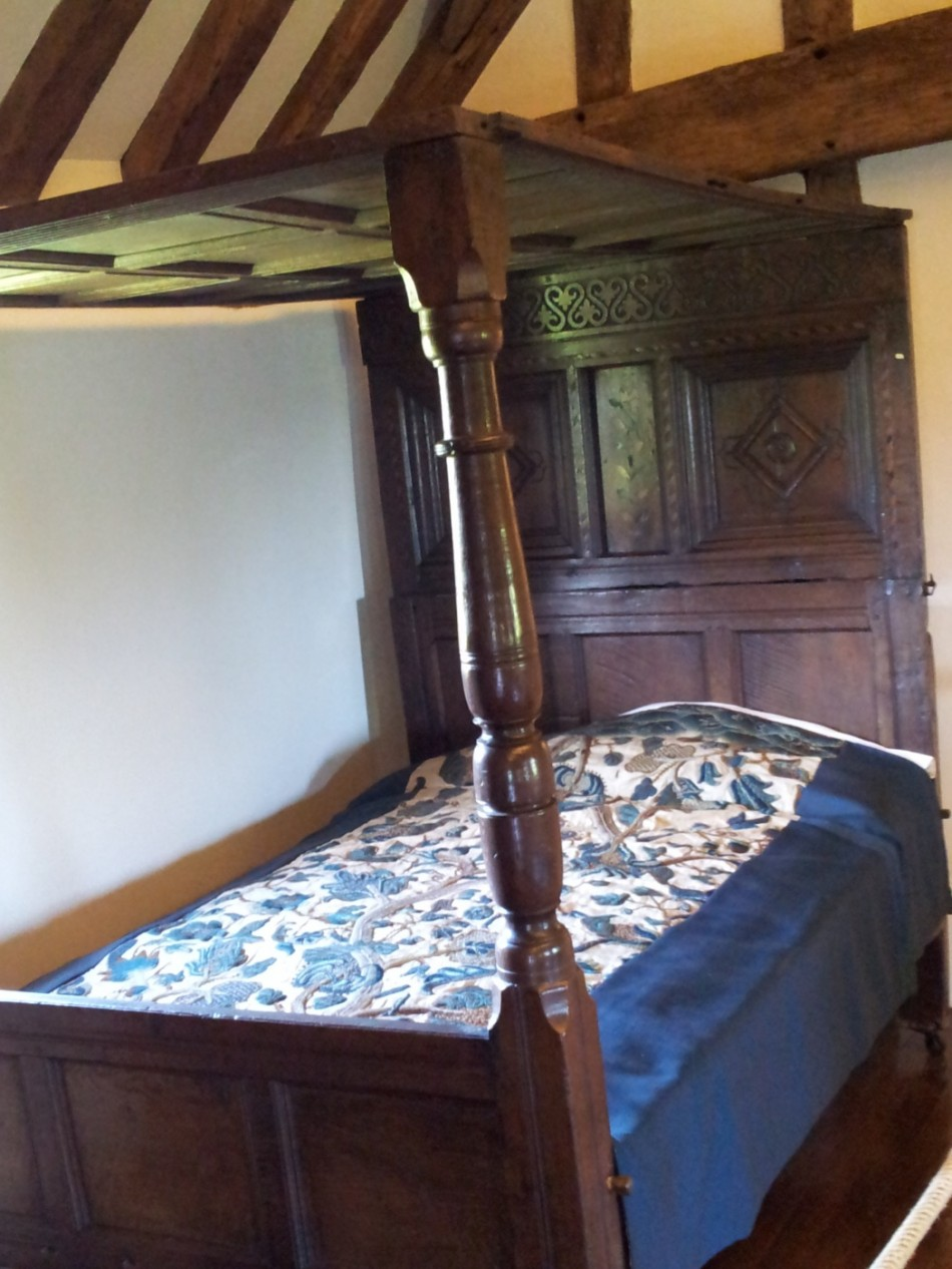 The ceiled bed arrived in the early 16th century. The headboard was called the tester.