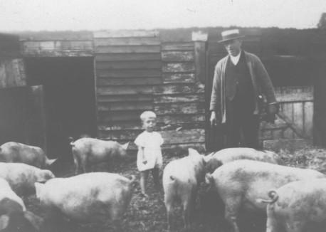 "James Walker ""Dad Jim"" with his son Hubert at 28 Shillington Rd."