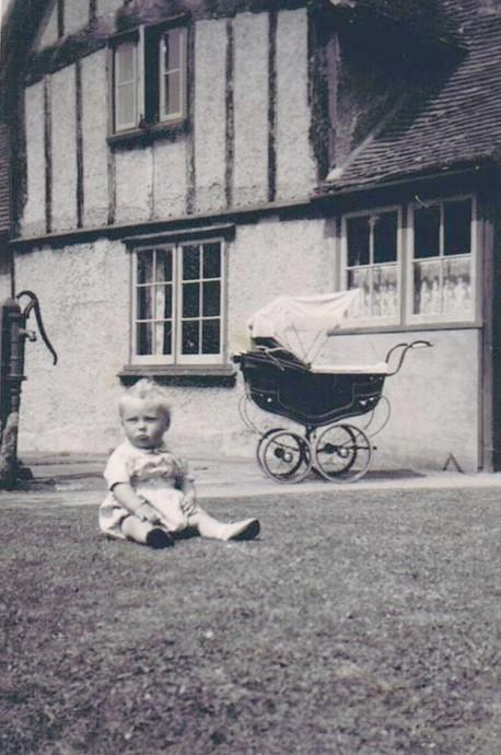 Stephen Lake outside his grandma's [ Miriam Weedon ]house.